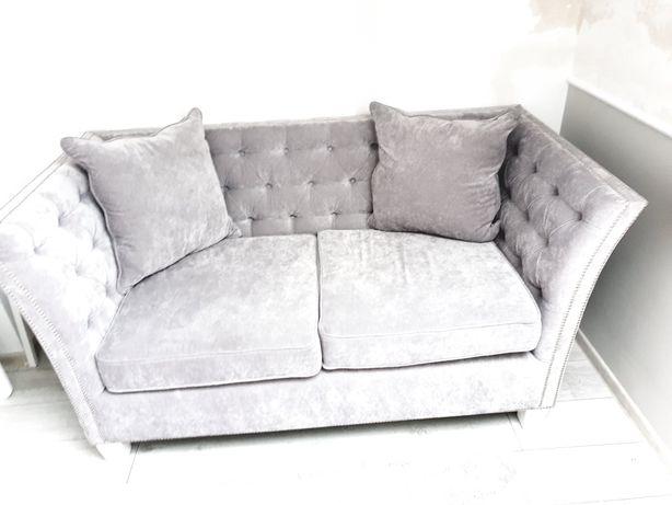 Sofa welur szara kanapa 2 osobowa glamour rocco pikowana  Grey