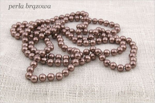 (8) naszyjnik długie perły 160 cm czerwone brązowe NOWE