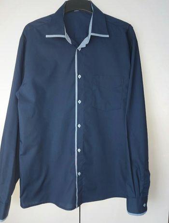 Granatowa koszula męska L
