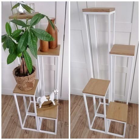 Kwietnik Loft loftowy stojak drewno metal 80cm