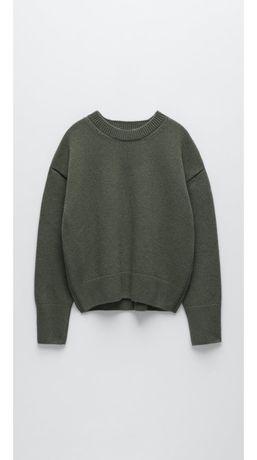 Sweter nowy Zara khaki S wełniany wełna 100%