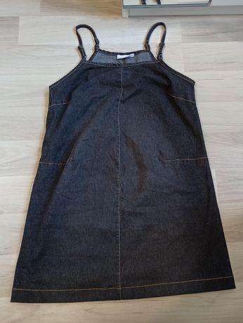 Sukienka ciążowa dżinsowa h&m mama M 38 lato ramiączka brzuszek szara