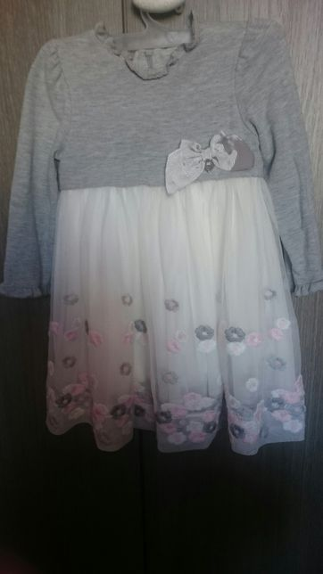 Cudna sukienka firmy Mayoral haftowane kwiaty chrzest komunia wesele