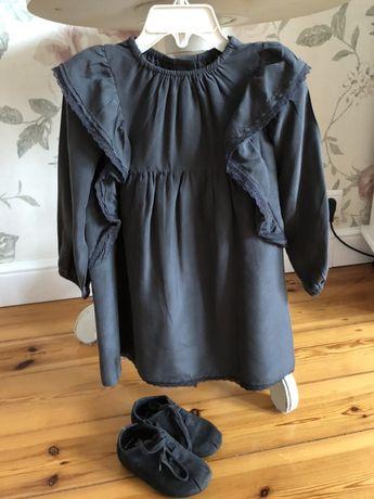 Zara sukienka jedwab z falbankami nowa 98