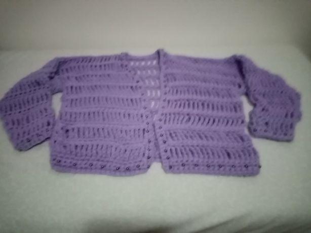 Casaco de lã em crochet tamanho L portes grátis
