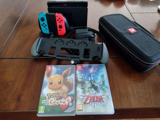 Nintendo switch v2 jak nowy cały zestaw