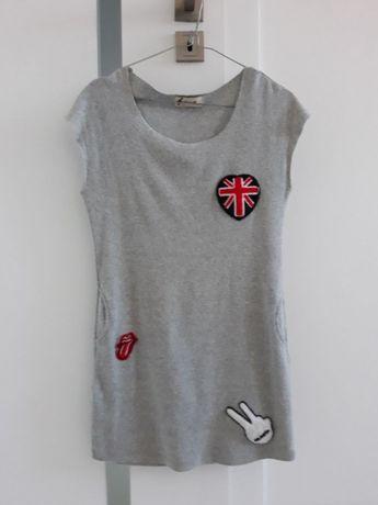 Sukienka mini tunika szara naszywki dresowa S 36