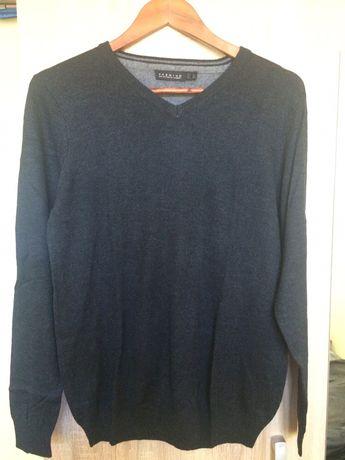 Sweter w serek elegancki gładko hit modny jak nowy bawełna klasyczny