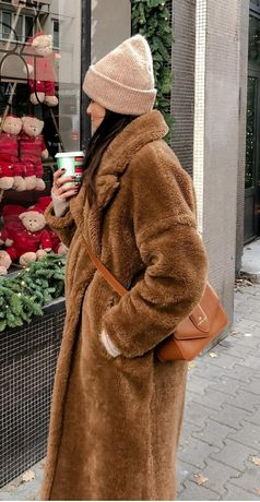 Zara płaszcz futrzany misiu teddybear S