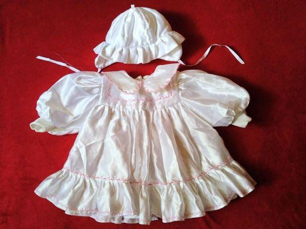 Sukienka z kapelusikiem atłasowa na chrzest