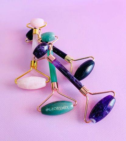 Нефритовый ролик для массажа лица, разные цвета, камень ГуАша массажер