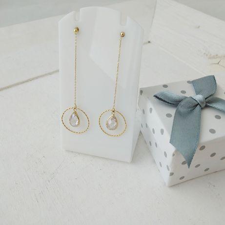 Złote wiszące kolczyki z cyrkoniami, złoto 585
