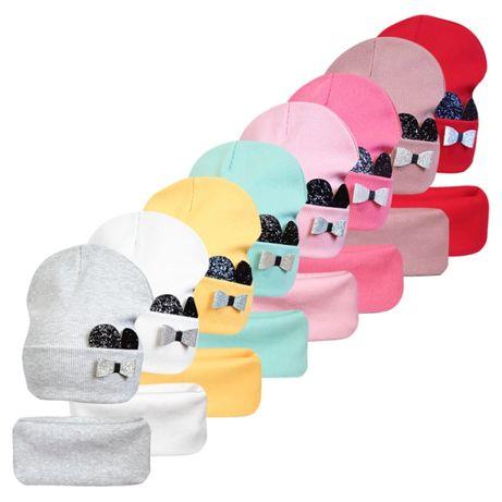 Двойной комплект шапка с хомутом Мышка Минни ог.52-55см
