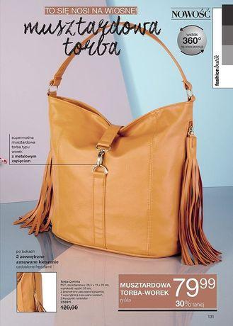 Modna torebka w musztardowym kolorze