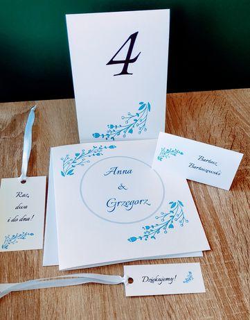 Zaproszenie zaproszenia ślubne winietki zawieszki niebieskie kwiaty