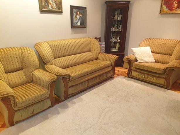 Zestaw: kanapa/sofa, 2 fotele (1 rozkładany) + pufa i krzesło GRATIS