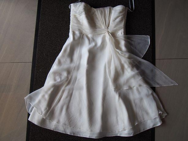Sukienka roz 42 wizytowa, wesele ślub ecru-krem ciążowa