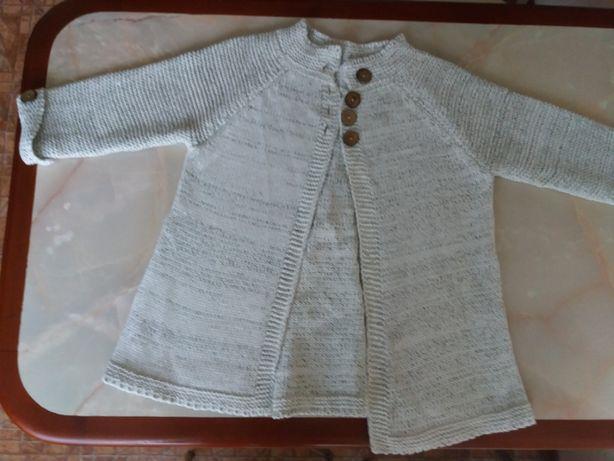 Теплый вязаный кардиган для девочки, новый (привезен из Англии, оказа