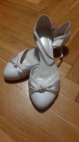 Buty ślubne/do ślubu niski obcas białe