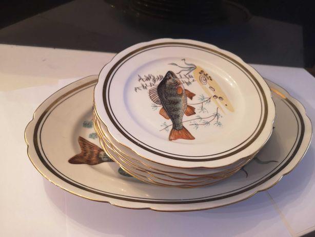 Porcelanowy zestaw talerzy + półmisek, PRL ryby
