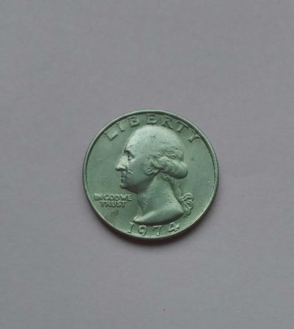 Moneta 25 centów - USA - 1974r. - SKRĘTKA 180 stopni!