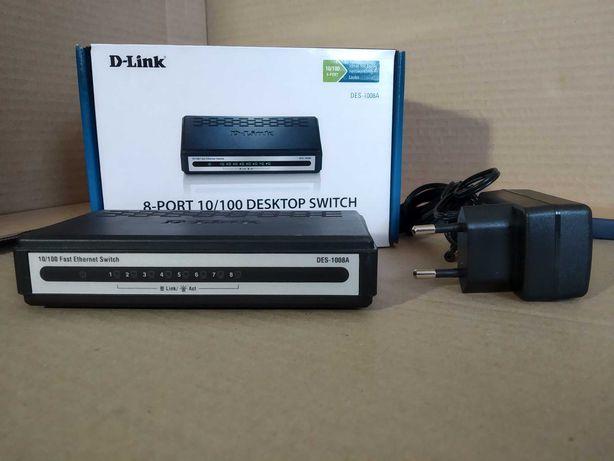 Коммутатор, 8 портов, D-Link DES-1008A, Switch, Свитч