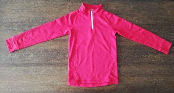 Bluza Quechua różowa na zamek roz. 128 + koszulka fioletowa