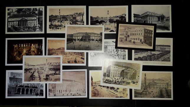 Colecção 16 Postais de Lisboa Antiga Praça do Rossio Teatro Dona Maria