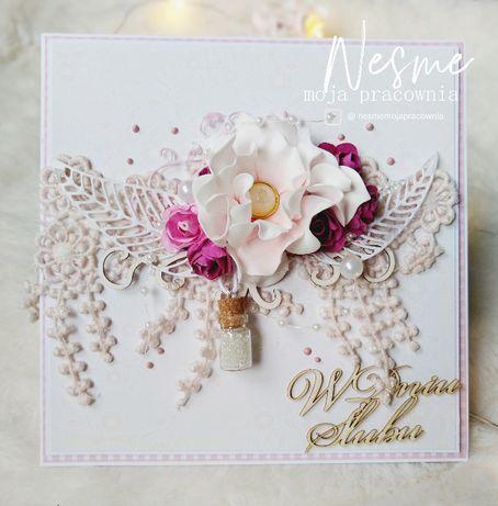 Kartka ślubna, kartka na ślub, kartka ręcznie robiona