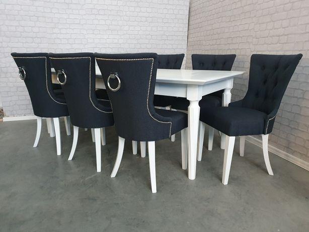 Krzesło z kołatką pikowane szare grafitowe velvet