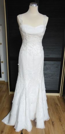 NOWA pięknie zdobiona suknia ślubna rozmiar 38
