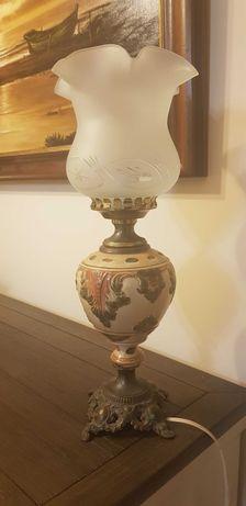 lampka na biurko ceramiczna mosiądz