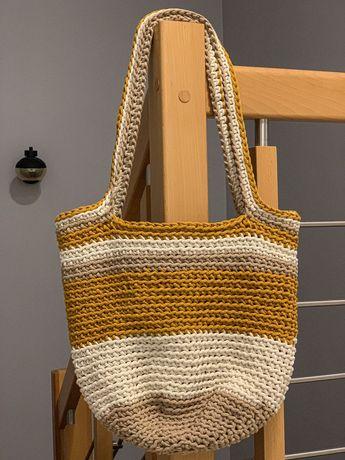 Duża torebka typu shopperka ręcznie robiona