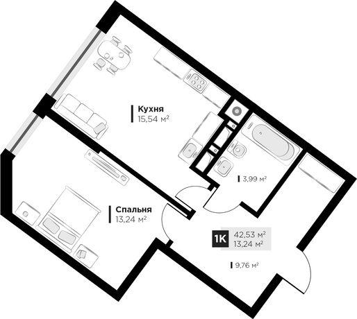 Продаж 1кім квартири ARTHOUSE park 3поверх Малоголосківська 42,53м2