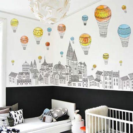 Наклейка Воздушные шары на стену обои наліпка детская комната