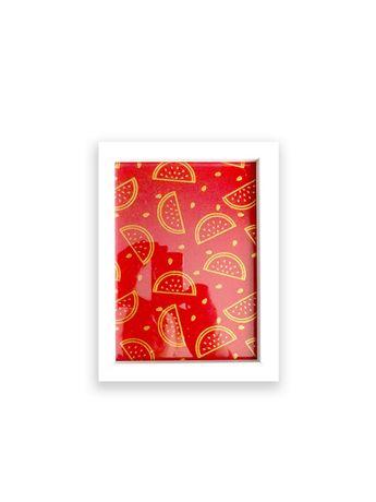 mały czerwony obraz, złoty obraz, czerwona grafika na ścianę arbuz