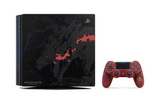 PS4 Pro Edição Limitada Monster Hunter World (c/comando, jogo e caixa)