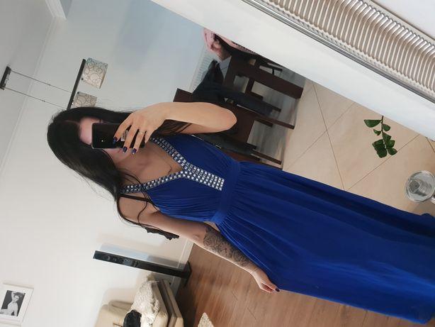 Suknia studniówka wesele elegancka długa kobaltowa