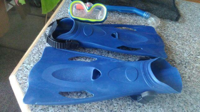 Barbatanas , óculos e respirador