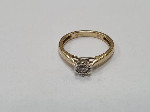 Piękny złoty pierścionek/ Apart/ Brylant 0.1 CT/ R12/ 1.94g/ sklep Gdy