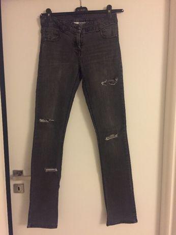 ciemnoszare jeansy z dziurami wygodne CAMAIEU r M OKAZJA