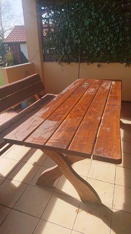 Stół drewniany, ogrodowy z dwiema ławami
