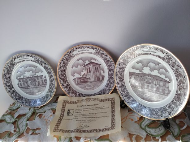 Kolekcja porcelana i złoto talerze ozdobne Krośniewice Jan Grucza 2003