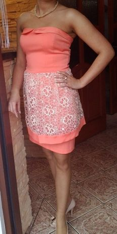 Sukienka wieczorowa koral roz. 36 jak nowa