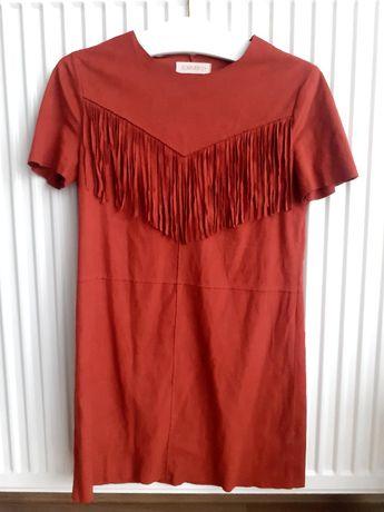 Sukienka zamszowa ruda frędzle 152cm