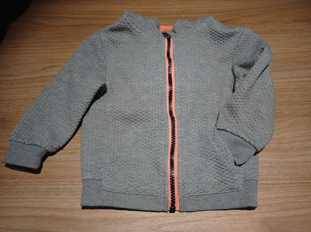 Szara bluza z kapturem na suwak 86