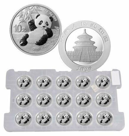 Chińska Panda 2020 15 monet 30g Ag Srebro Stan Menniczy