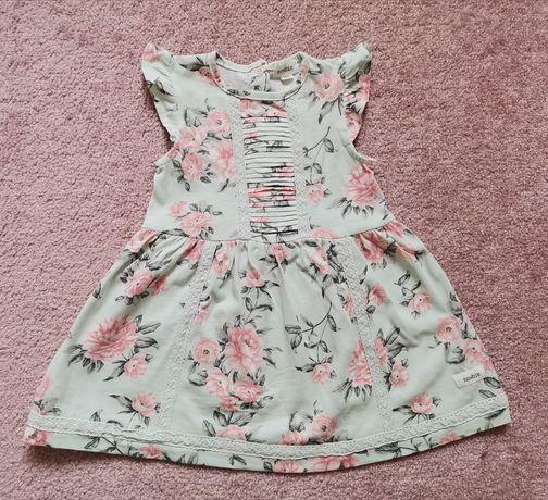 Sukienka NEWBIE. r. 80 miętowe piwonie