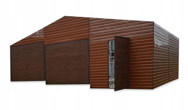 Garaż blaszany 3-poziomowy 9x6 drewnopodobny + bramy
