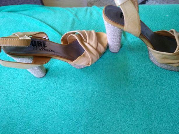 Słomiane sandały Fiore 41 klocek platforma